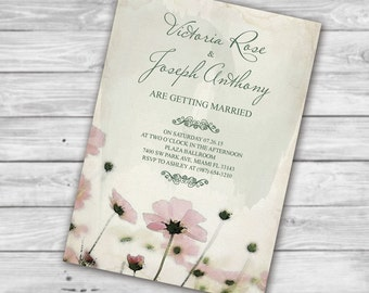 Printable Watercolor Marriage Invitation, Inexpensive Wedding Invitations, DIY Pink Poppies Hand Painted Watercolor Wedding Invitations
