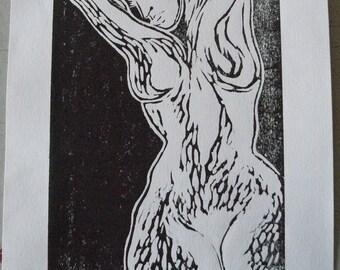 Woodcut female white black-limited edition female figure soul