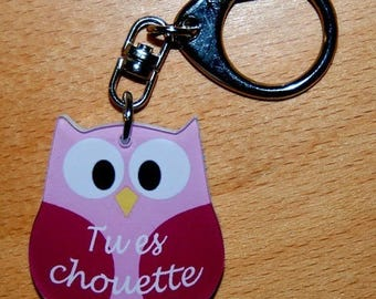 OWL Keychain / pink OWL with name or text