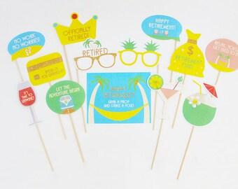 Happy Retirement Party Props, Retirement Photo Booth Props, Retirement Decorations Printable | INSTANT DOWNLOAD
