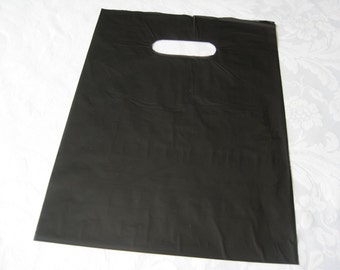 50 Black Bags, Plastic Bags, Glossy Bags, Gift Bags, Merchandise Bags, Shopping Bags, Retail Bags, Favor Bags, Bags with Handles 9x12