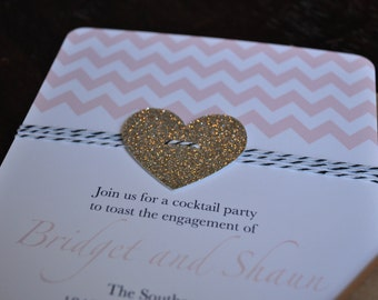 Pink Chevron, glitter heart and bakers twine pink and gold birthday invitation