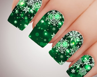 EMERALD FAIRY LIGHTS Snowflake Christmas Xmas Full Nail Art Decal Water Transfer Sticker Tattoo #5309
