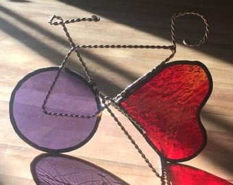 Choose your own color and heart -Stained Glass bicycle sculpture