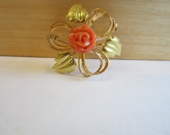 18k Yellow Gold Coral Brooch, Coral Flower Brooch, 18k Gold Pin