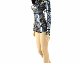 Silver on Black Cracked Tiles Holographic Long Sleeve Hoodie Romper w/Black Zen Hood Liner Rave Festival Onsie 151909