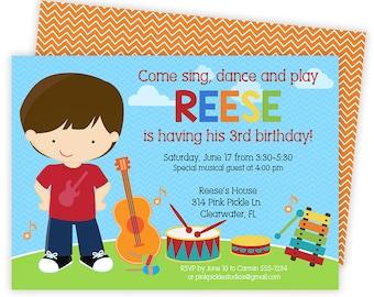 Music Invitation / Music Birthday Invitation / Music Party/ Music Birthday Party/ Music Theme Party/ Birthday Invitation/ Music Invite | 314