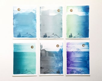 SALE! Postcard 6-Pack Moon & Mountains Collection