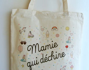 """Tote bag """"Granny who rocks"""" - day gift for mothers gift grandmother gift Grandma Christmas gift"""