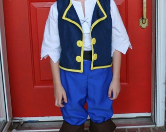 Jake and the Neverland Pirate Costume Vest, Head Sash and Belt Only