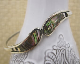 "Very modernist ""Alpaca""  curvy  silver bangle with inlaid Abalone Shell"