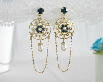 Long Gold Flower Earrings - Crystal Jewelry - Crystal and Pearl Bridal Earrings - Bridal Crystal Earrings - Gold Bridal Earrings