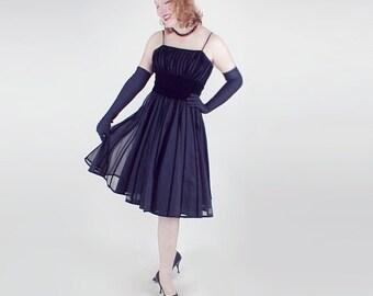 60s Black Velvet Stripe Circle Skirt Party Dress XS