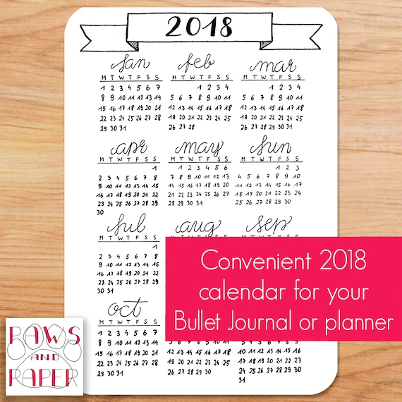 Calendar Bullet Journal 2018 : Two year calendar  printable