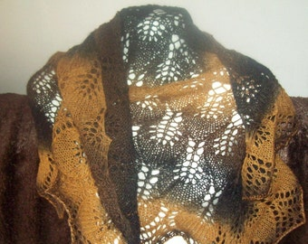 Autumn shawl unique creation hand knitted