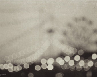 carnival, dreamy,  black and white, bokeh, lights, fine art photography