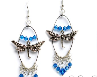 Silver Dragonfly Earrings | Blue Dragonfly Jewelry | Swarovski Crystal Dragonfly Earrings | Dragon Fly Jewelry | Insect Jewelry | Oval