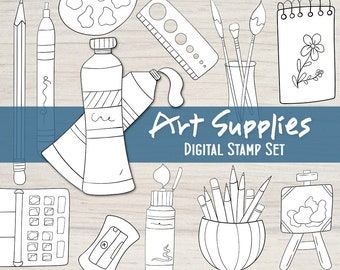Art Supplies Digital Stamp Set - 12 Collage Elements to Color, Artist Printable Digi Stamps, Digital Art Supply Objects PDF by Windy Iris