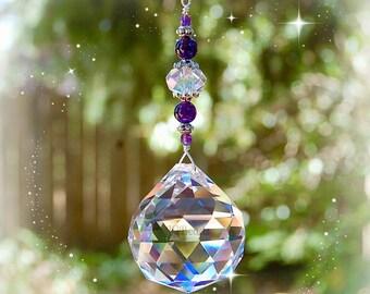 Amethyst Crystal Suncatcher, Large Hanging Window Prism, Gemstone Light Catcher, Long Crystal Ball Decoration