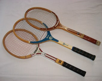 Vintage Tennis Racquets Set of THREE Wood Frame Bancroft Wilson Jimmy Connors Chemold Youngstar Sports Racket Badminton