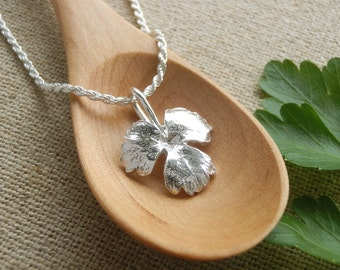 Small Italian Parsley Leaf Jewelry - Pure Silver Real Leaf Pendant, Sterling Silver Chain, Herb Jewelry, Botanical Jewelry, Gardeners Gift
