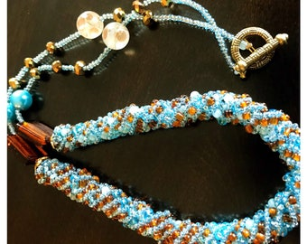 Chocolate and Teal Spiral Beaded Necklace