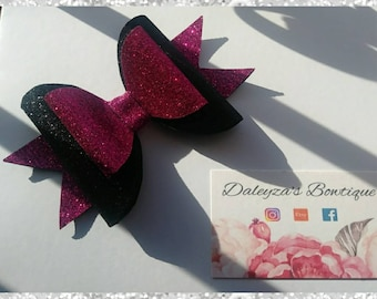 Pink and black glitter bow
