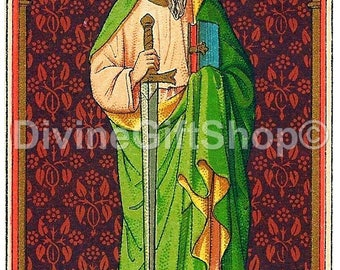 """Icon St Paul The Apostle 5"""" X 7"""" Print. Gorgeous Icon Patron Saint of Missions; Theologians Christians, Snake Bites, Poison, and Journalists"""