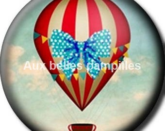 Round cabochon resin 25 mm - craft hot air balloon (1513) - sky, flight, fly