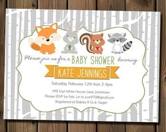 Forest Animals Baby Shower Invitation, Woodland Birch Tree Shower Invitation for Boy, Girl or Gender Neutral_1127