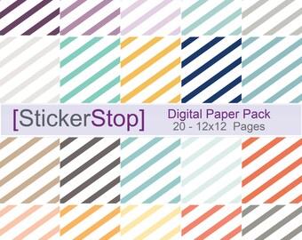 Slanted Stripe original inkWELL Press Planner inspired colors Digital Paper Set - Instant download PNG files - 12 x 12 paper