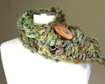 Hand Knit Merino Wool  Scarf, Green and Brown Merino Scarf, Merino Wool Button Scarf, Brown Merino Wool Scarf, Button Scarf for Men Women