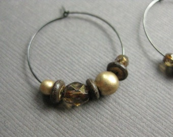 CLEARANCE Hoop Earrings, Shades of Brown and Gold with Gunmetal Grey Hoops,  E 223