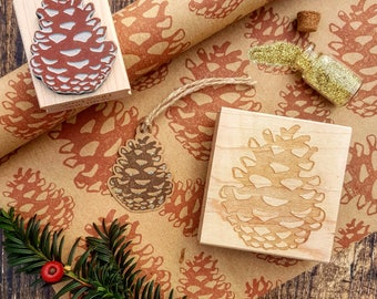 Christmas Pinecone Rubber Stamp  - Pine Cone Christmas Stamper - Autumn Winter Stamp -  Cardmaking - Pine Tree - Scrapbooking - Contemporary