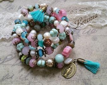 Blue pastel turquoise boho bracelet