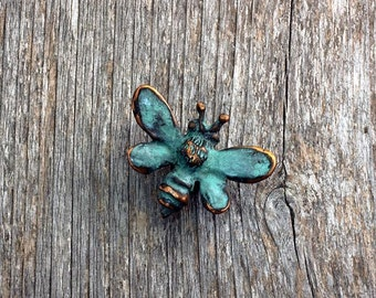 Honey Bee Brooch in blue green copper patina