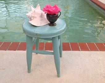 TURQUOISE AQUA STOOL / Vintage Aqua Stool or Side Table Cottage Shabby Chic Farmhouse decor at Retro Daisy Girl