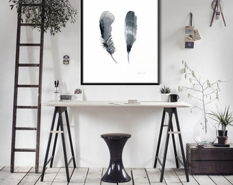 Black feathers print   Feather artwork - 2 Feathers art print from watercolor painting by Annemette Klit - giclee artwork of bird feathers
