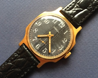 Pobeda  guilloche Soviet watch Gold plated  Vintage Watch- Men watch Mechanical watch  -men's wrist  -SERVICED