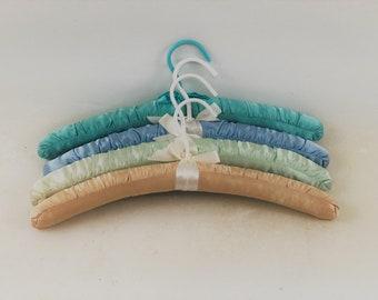 Vintage Padded Hangers, Multi Colored, Set of 4