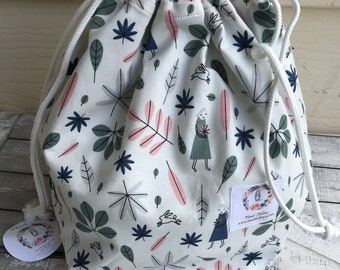 Feather & Leaf Knitting Project Bag - Toad Hollow bag, Crochet Project bag, drawstring bag, perfect gift for him or her,Toadstool Bag