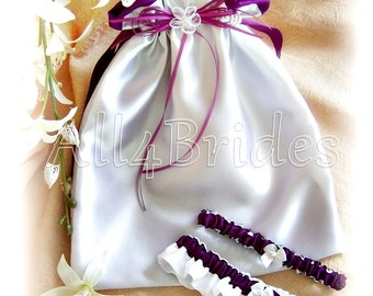 Bridal Wedding Dance Drawstring Bag and Garter Set Plum Purple