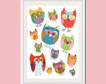 owl print, owl decor, owl nursery decor, baby girl nursery, owl art, girl nursery decor, nursery wall art, baby room decor, baby girl gift