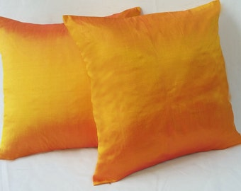 Orange silk Pillow, decorative Tangerine orange Pillow Cover,  Dupioni Silk Pillow,Accent Pillow, throw pillow.Luxury silk cushion cover