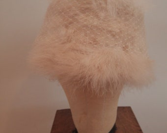1950's White Feather Hat