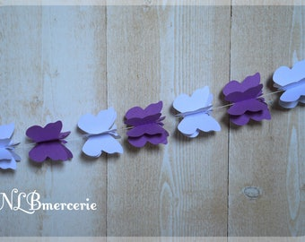 3D Butterfly card stock white and purple 1.5 m Garland
