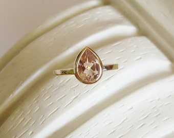 Morganite Pear 9x6mm, 14K Gold, White, Yellow, or Rose Gold Gemstone Ring, Made to Order