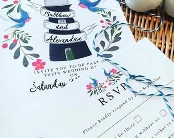Handmade//Illustrated//Wedding//Stationery