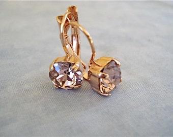 Rose Gold Vintage Rose Swarovski Crystal Earrings, bridal earrings, Bridesmaid earrings, blush wedding, blush, bridesmaid gift, rose gold