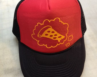 PIZZA TROLLZ slice thought bubble TRUCKER hat red/black with deep yellow vinyl cutout tranfer